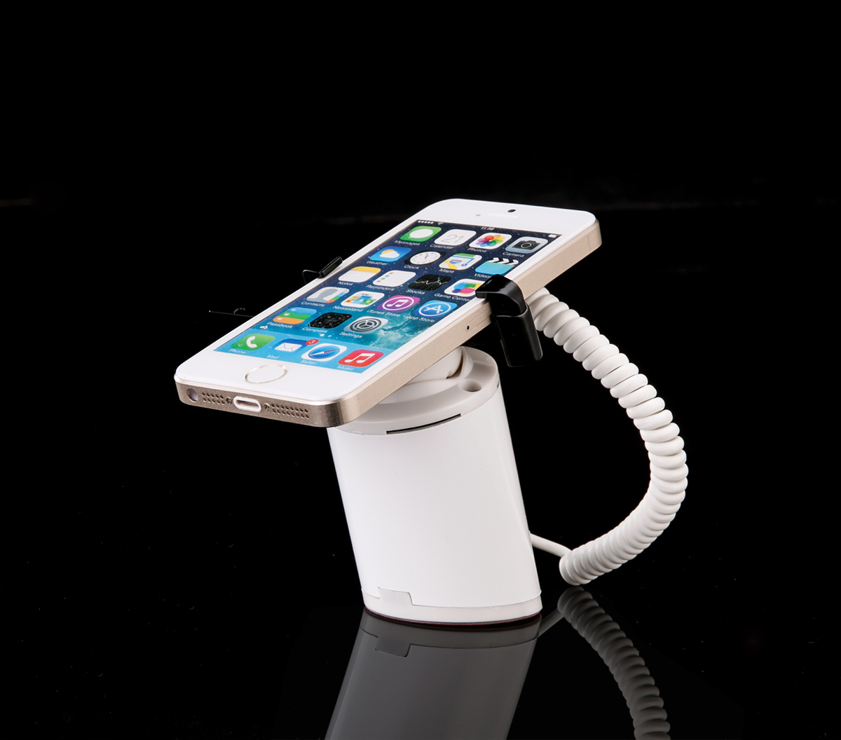 COMER desktop display mobile phone charging and alarm sensor stands with charger cord and clip lock