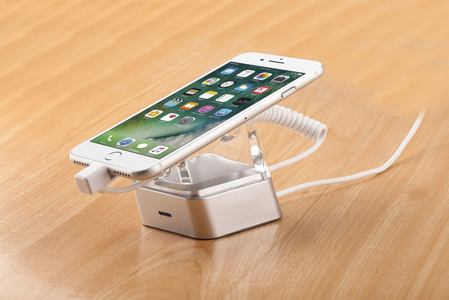 COMER acrylic display security charger display anti theft solutions for apple iphone stores