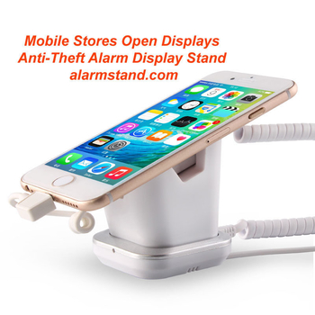 COMER mobile phone retail shops security display charging and alarm sensor stand with charging cord - Comerstand.com