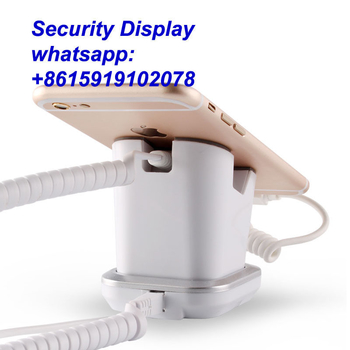 COMER mobile phone stores shops display charging and alarm sensor stand with USB charging cables