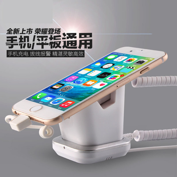 COMER mobile phone stores shops display charging and alarm sensor stand with USB charging cables - Comerstand.com