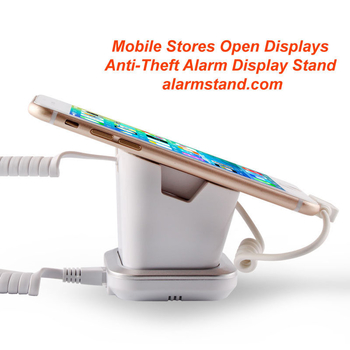 COMER anti-theft cable locking mobile phone shops display charging and alarm sensor stand