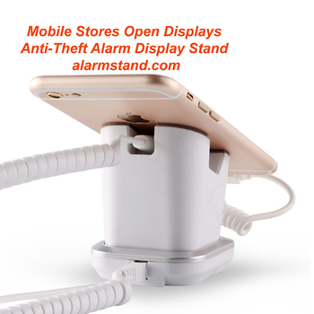 COMER mobile phone security display charging and alarm sensor stand