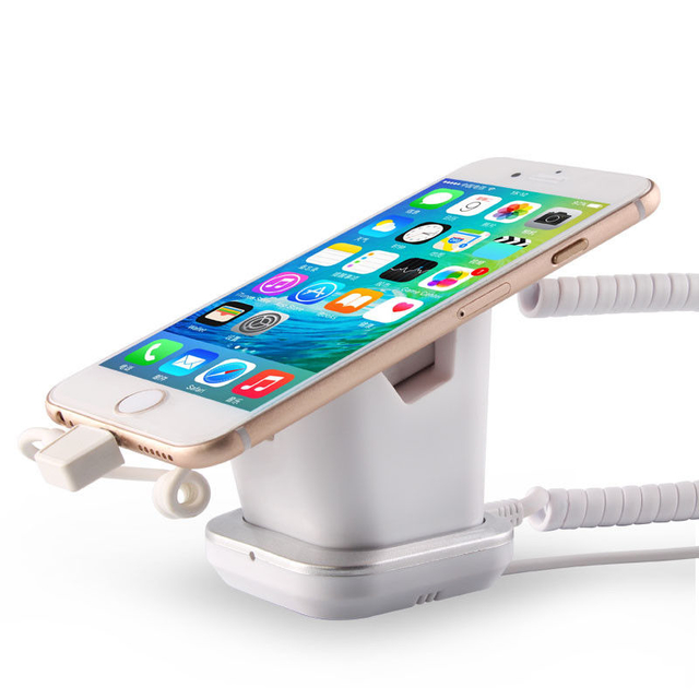 COMER mobile phone shops display charging and alarm sensor stand with charging cable