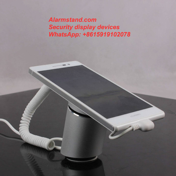 COMER metal display phone stands for digital gsm mobile phone retailer shops with alarming and charging